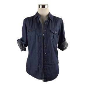 J. Crew Blue Denim Button Front Collard Shirt sz 2